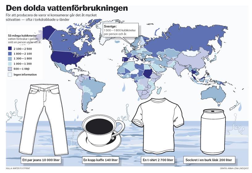 DN Kartdiagram Den dolda vattenförbrukningen