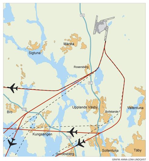 Karta Alternativa flygvägar Luftfartsverket