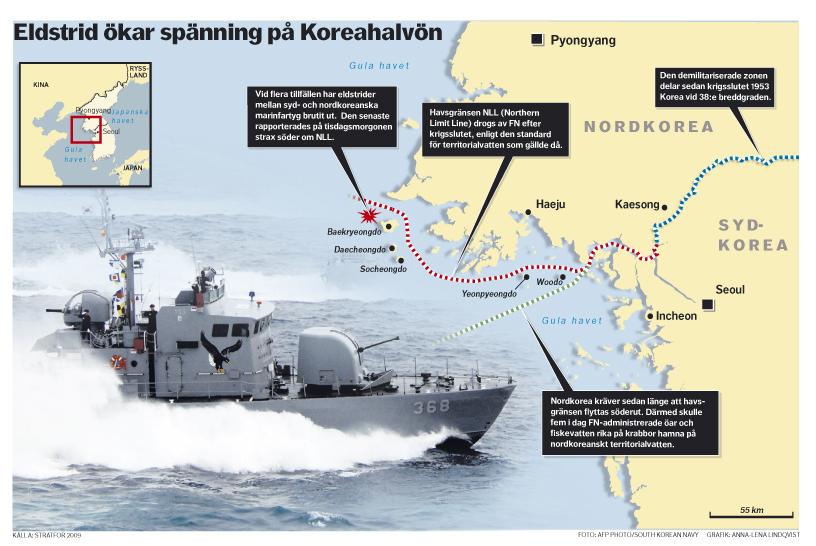 Karta Nord Sydkorea