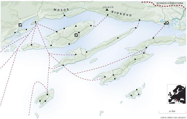 Split färjelinjer Karta